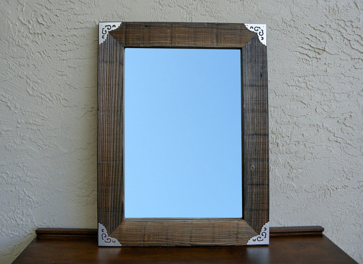 Reclaimed Wood Mirror With Metal Silver Corners. Rustic Decor