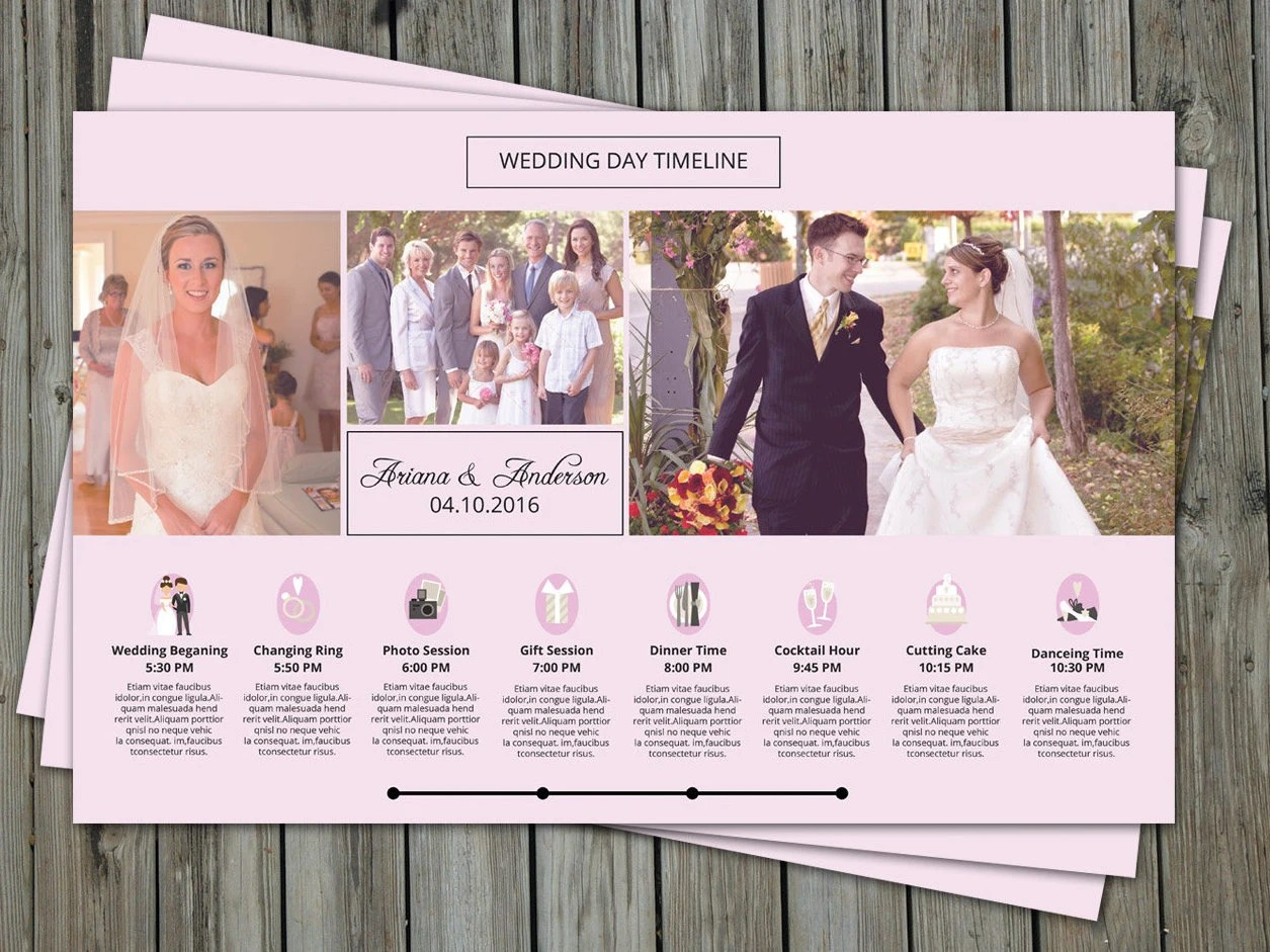 SALE Wedding Day Timeline Template For Photographer