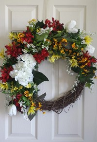 Red yellow large summer wreath front door decor French country