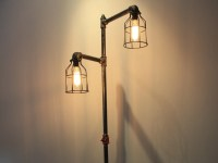 Black iron pipe floor lamp Faucet switch & bulb cages