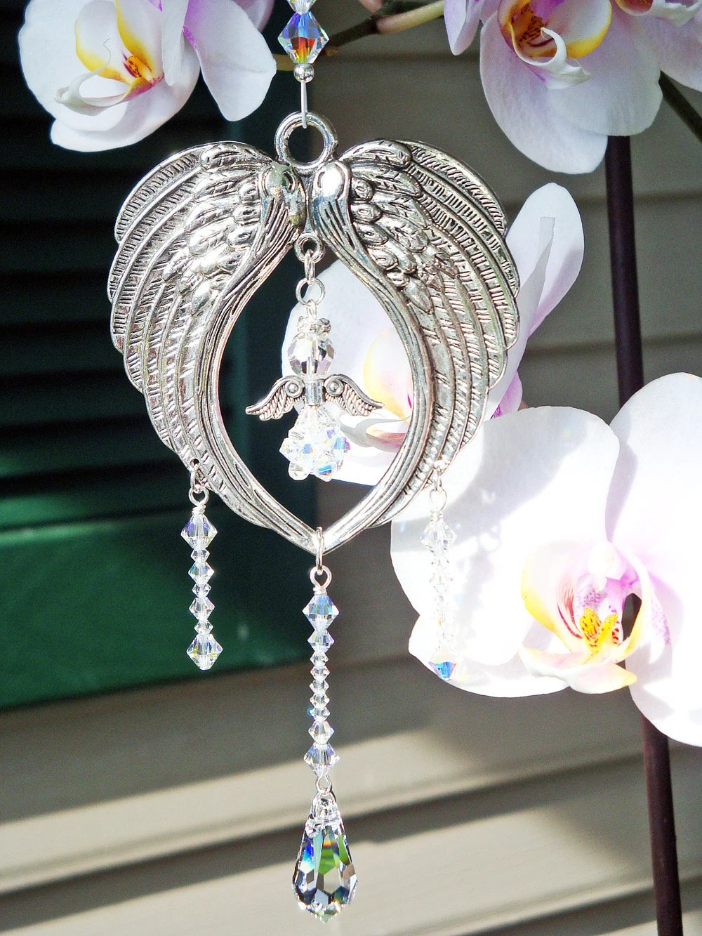 Angel Wing Suncatcher Swarovski Crystal Guardian Angel Prism