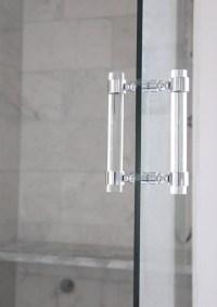 Lucite Shower Door Pull Handles PAIR Brass Satin Brass