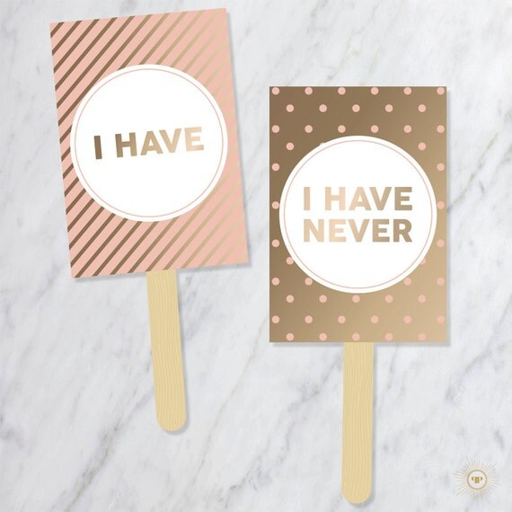 Never Have I Ever Paddles Wedding Party Signs Yes No