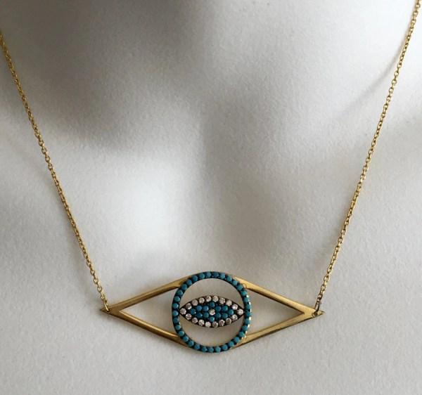Karat Gold Evil Eye Necklace Tallulahfashion4you