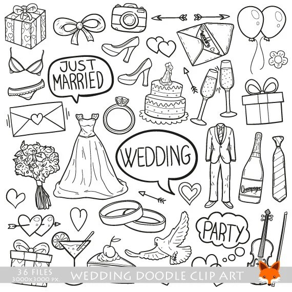 Wedding Party Friends And Family Married Doodle Icons Clipart