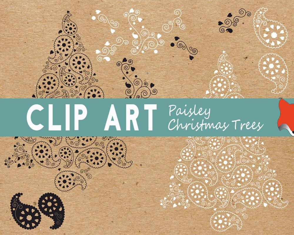 Retro Christmas Clipart, Christmas Tree Clipart, Christmas