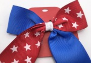 red white and blue cheer bow hair