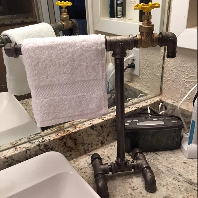 Items similar to Industrial Black Iron Pipe Towel Bar