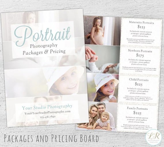 Photography Pricing Guide Photoshop Template Marketing