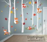Fall fox wall decal nursery wall decal birch tree wall
