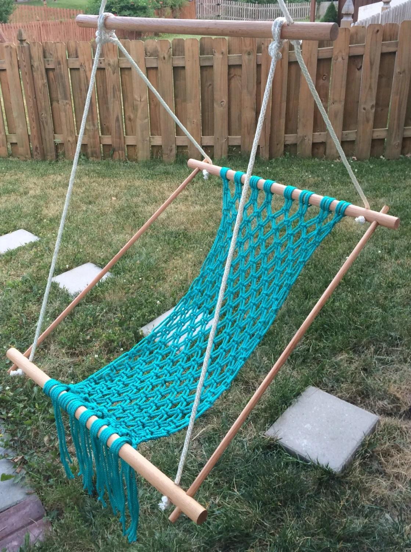 macrame hammock chair corduroy bean bag shark tank swing turquoise for child teen or