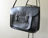 Black leather schoolbag, ...