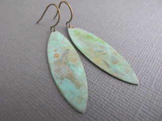 Verdigris Patina Earring, Almond Shaped Dangle, Antiqued brass
