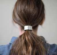 Leather Hair Cuff Ponytail Holder in Silver size 4inches