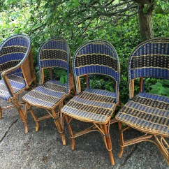 French Rattan Bistro Chairs Chair And A Half Rocker With Ottoman Antique Country