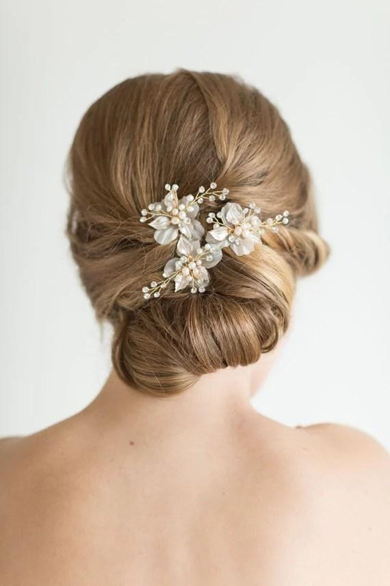 Wedding Hair Pin Bridal Hair Pin Pearl Hair Pin Flower Hair