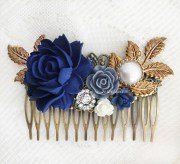 navy blue wedding hair accessories