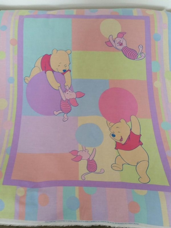 Vintage Winnie Pooh Quilt Fabric Panel