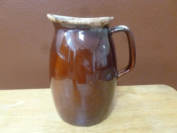 Vtg 1960s Hull Pottery Oven Proof Usa Brown Drip Pitcher 7