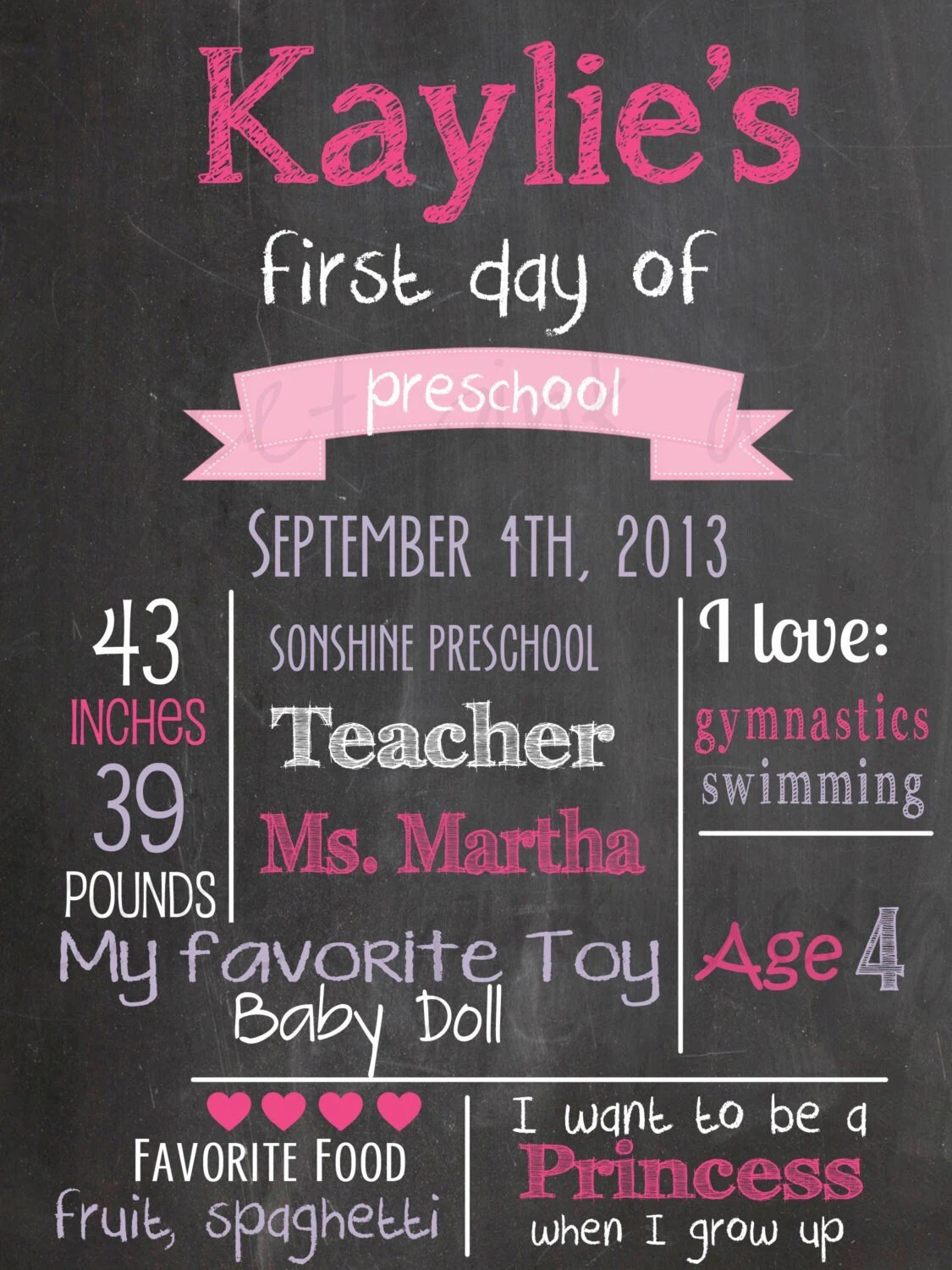 Chalkboard First Day Of School Printable By Sweetpinkdesigns