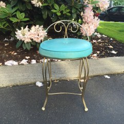 Vintage Vanity Chair Kevi Office Teal Hollywood Regency Stool