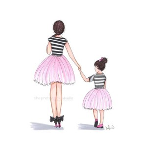daughter mother ballerina drawing holding mom hands