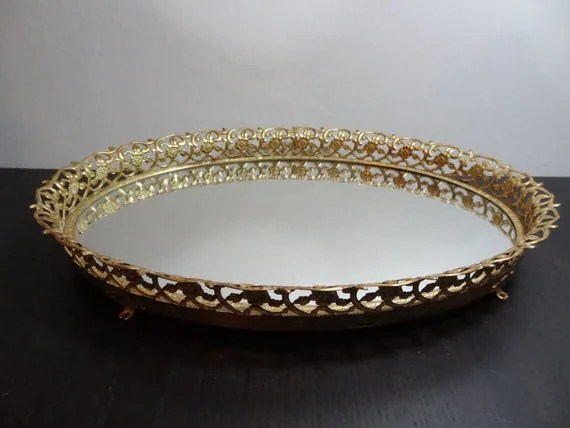 Vintage Oval Footed Mirrored Vanity/Dresser Tray With