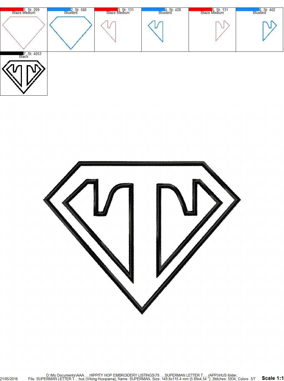 Superman Letter T...Applique Machine Embroidery DESIGN NO