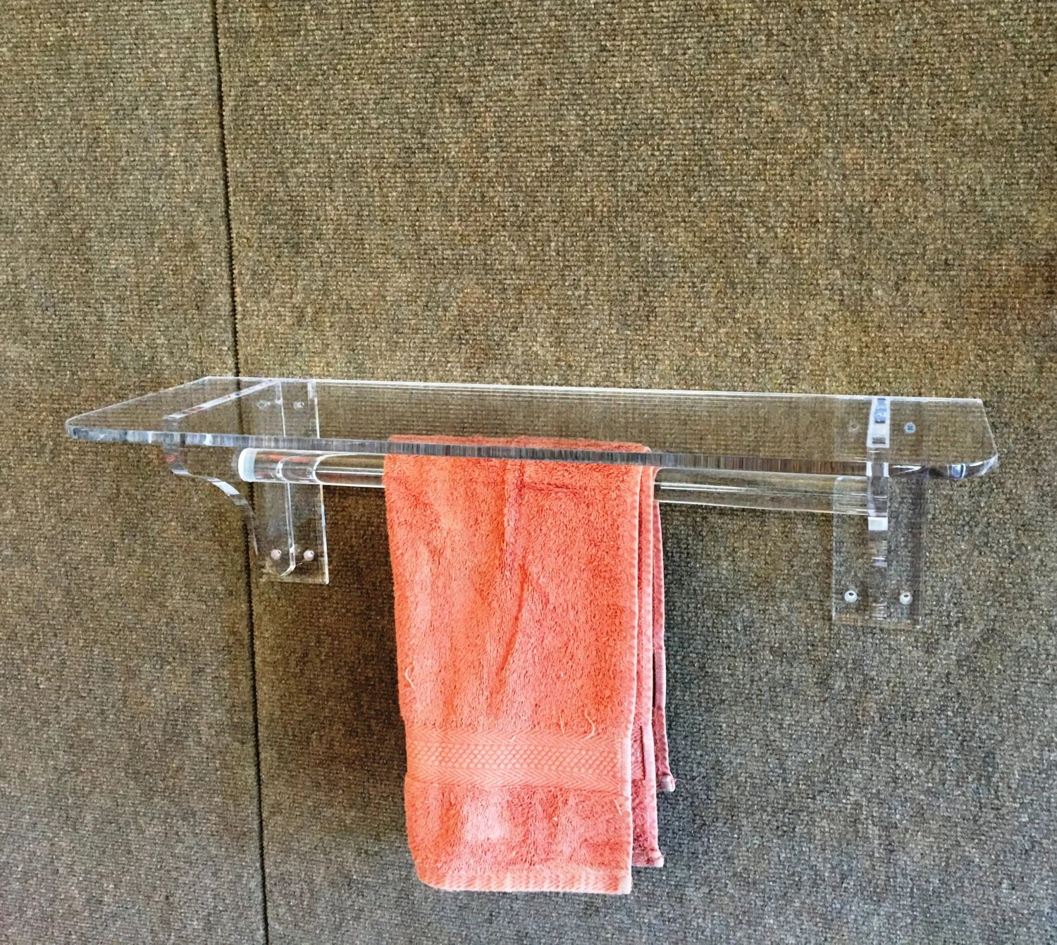 Clear Acrylic Lucite Wall Mount Shelf With Towel Bar