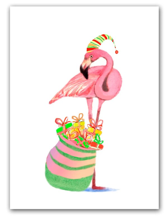 flamingo christmas cards tropical