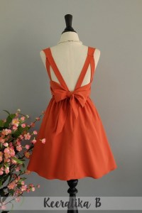 A Party Dress V Shape Dark Orange Prom by LovelyMelodyClothing