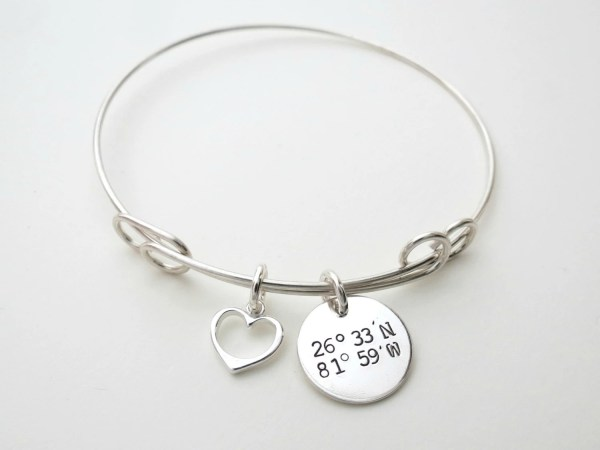 Personalized Coordinates Bracelet Bangle with Heart Charm