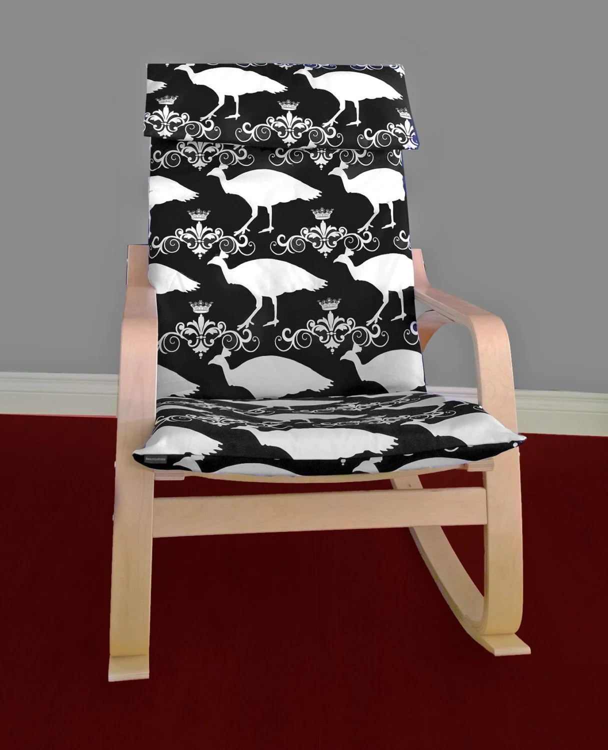 poang chair covers etsy sex chaise lounge ikea poÄng cushion slipcover peacock black by rockincushions