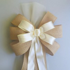 Burlap Bows For Wedding Chairs Amazon Beach Chair Ivory Pew Rustic Decorations