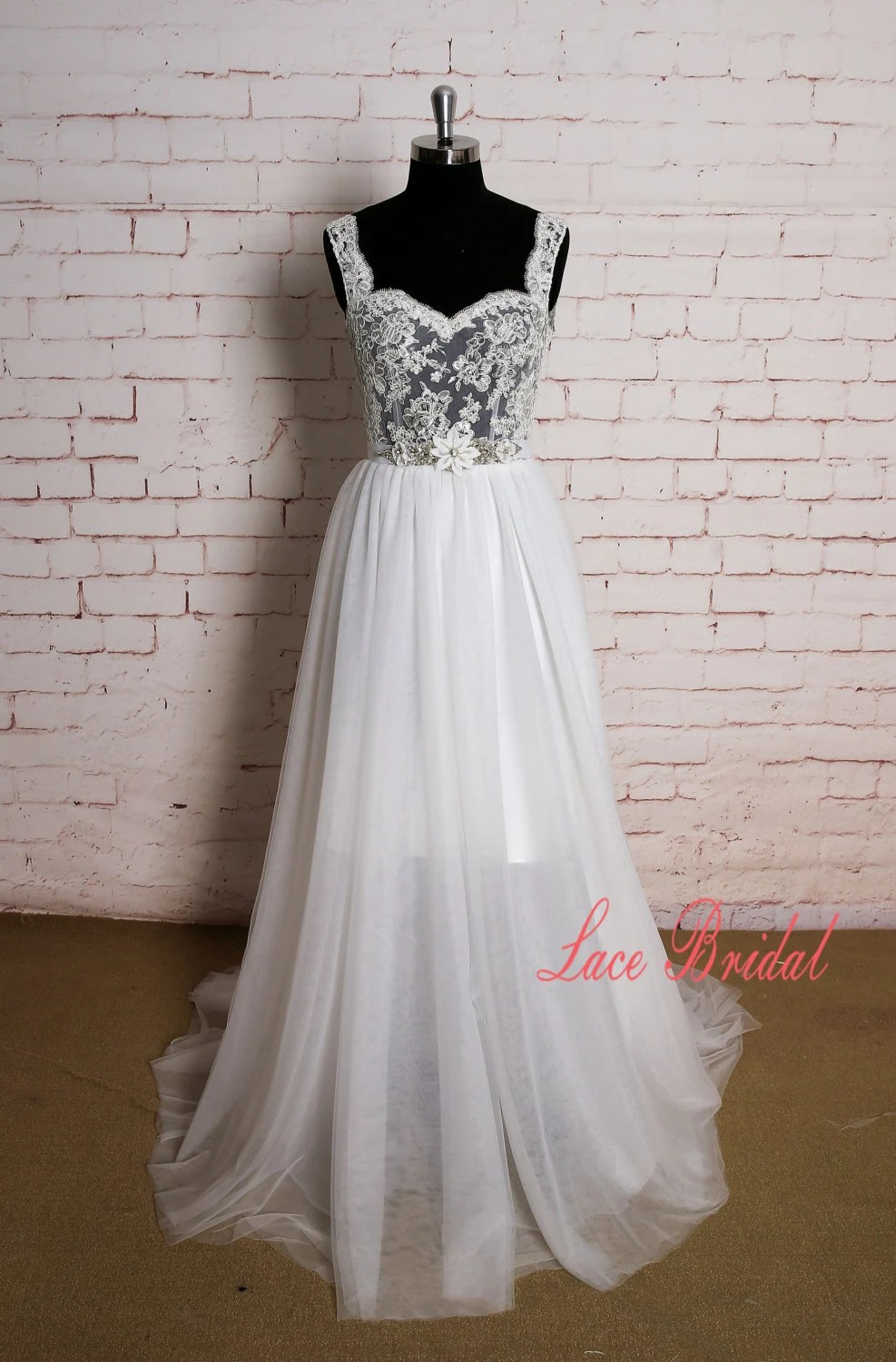 Lace Straps Wedding Dress with Sheer Bodice Backless by LaceBridal