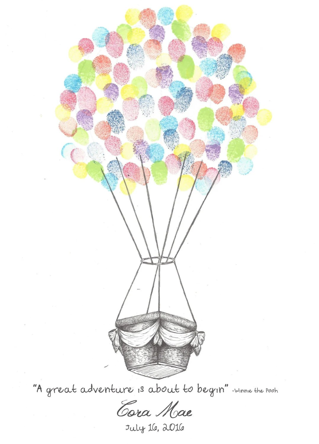 Hot Air Balloon With Sash Finger Print Guest Book Wedding