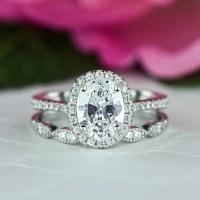 1.5 ctw Oval Halo Wedding Set Vintage Style Bridal Rings Man