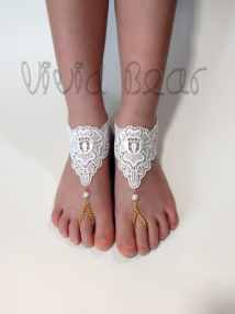 Girls Barefoot Sandals. Children Lace Chain Bead Foot Jewelry
