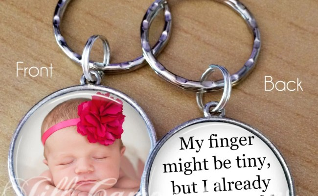 Gift For New Daddy Dad Custom Photo Keychain New Baby Push
