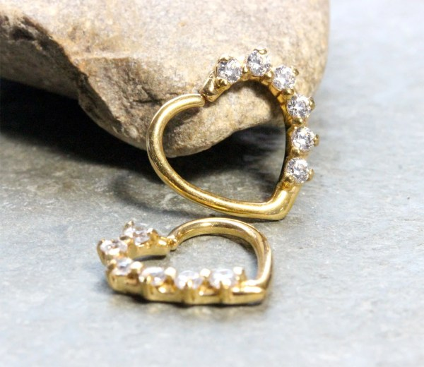 Gold Heart Rook Earring 16g With Crystalsdaith Jewelry