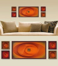 Orange Wall Art Set Zen Modern Wall Decor 3D Abstract String