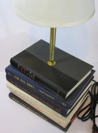Book Lamp Stacked Book Lamp Custom Made Lamp Table by ...