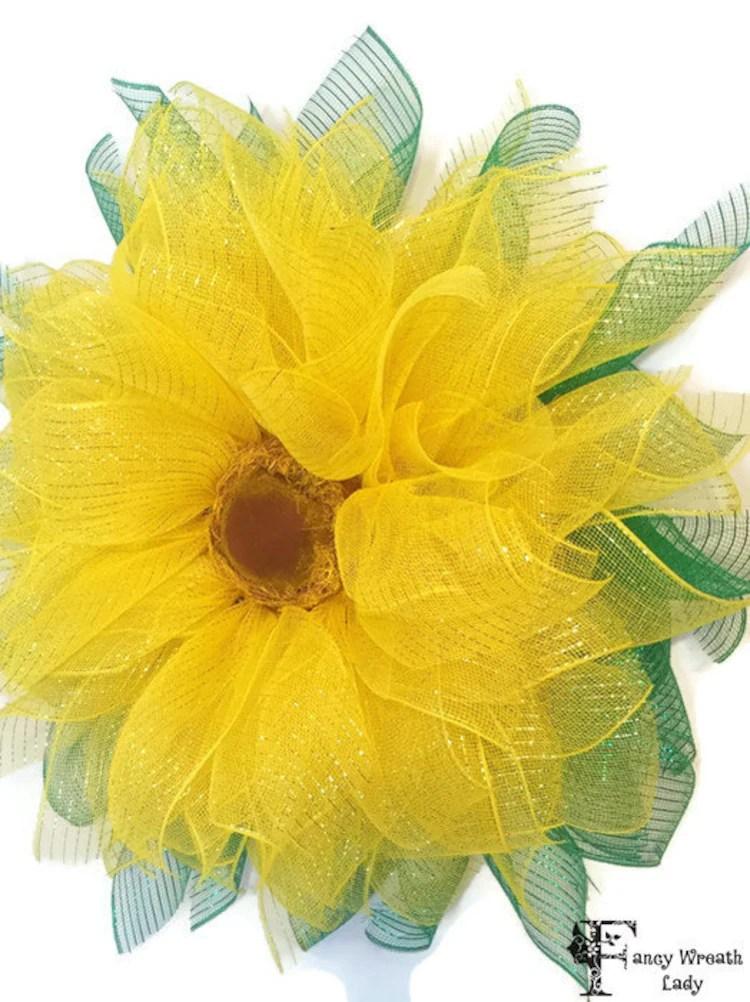 Yellow Sunflower Wreath Deco Mesh Sunflower by FancyWreathLady