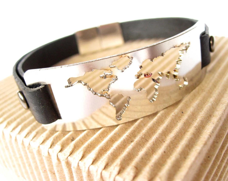 Mens Leather And Metal Bracelet World Map Bracelet
