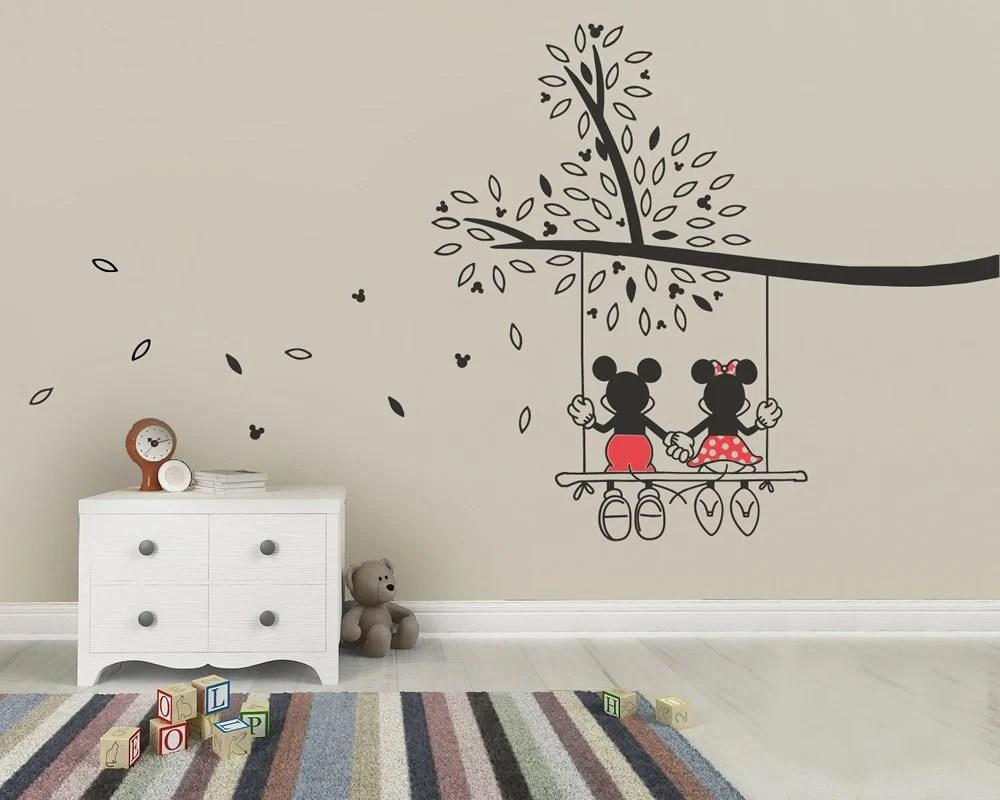 Mickey Mouse & Minnie Tree Swing Wall Sticker Wall Art Decal
