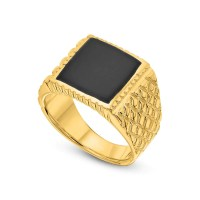 Gold Onyx Ring Black Onyx Ring Men 14K Gold Plated Ring