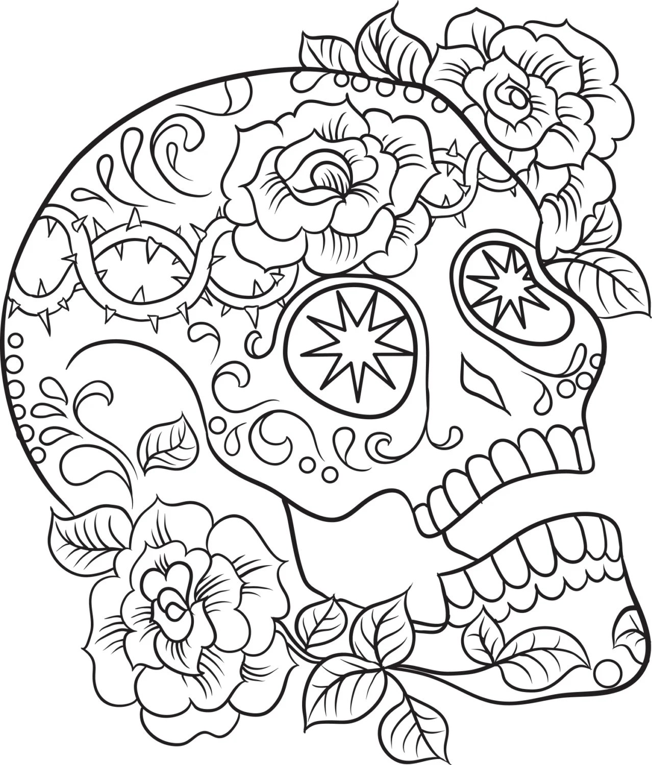 Color Me Sugar Skulls, Coloring Ebook, Print Out and Color