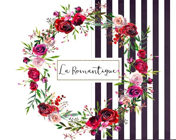 watercolor floral clipart red purple