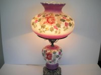 Large Double Globe Hurricane Electric Light with Flowers