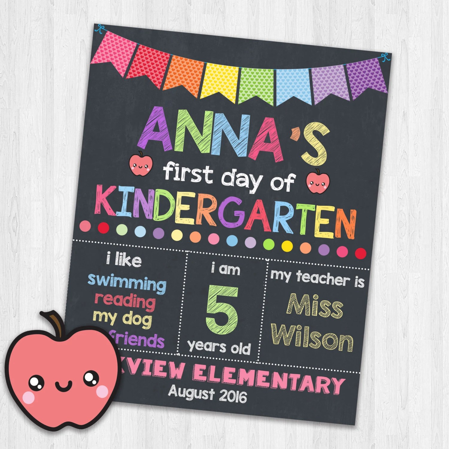 First Day Of Kindergarten Printable Signs Back To School Sign